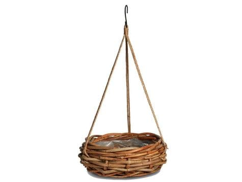 round wicker hanging basket | lined plant basket on rope